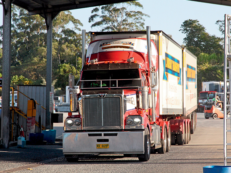 Snapped during a driver change in Lindsay Transport's Coffs Harbour depot, this Western Star is punched by an X12, notching more than a million kilometres in less than two years. All on Brisbane to Sydney B-double work. Fuel consumption rates highly
